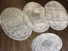 ROMANY WASHABLES TRAVELLERS 4 MATS NON SLIP OVAL DESIGN SUPER THICK SILVER/GREY